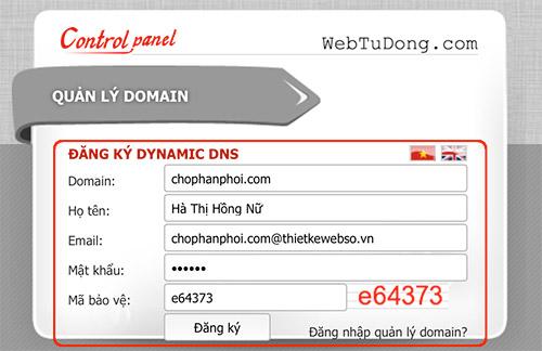 Đăng ký sử dụng dịch vụ DNS miễn phí của webtudong.com