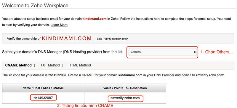 Hướng dẫn cài đặt hệ thống email theo tên miền với Zoho
