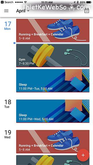 Danh sách từ khóa có ảnh đại diện trong Google Calendar